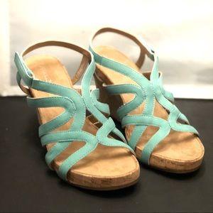Aerosoles   Lux Plush Green Wedge Sandals